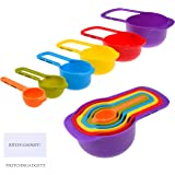 Set Of 6 Measuring Cups And Spoons   Space Saving Design   Colorful    Includes: