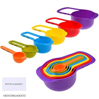 Set of 6 Measuring Cups and Spoons - Space Saving Design - Colorful - Includes: 1/2 Tbls, 1 Tbls, 1/4 cup, 1/3 cup, 1/2 cup, 1 cup - Durable Plastic - Easy to Clean - Dishwasher Safe (Random color)