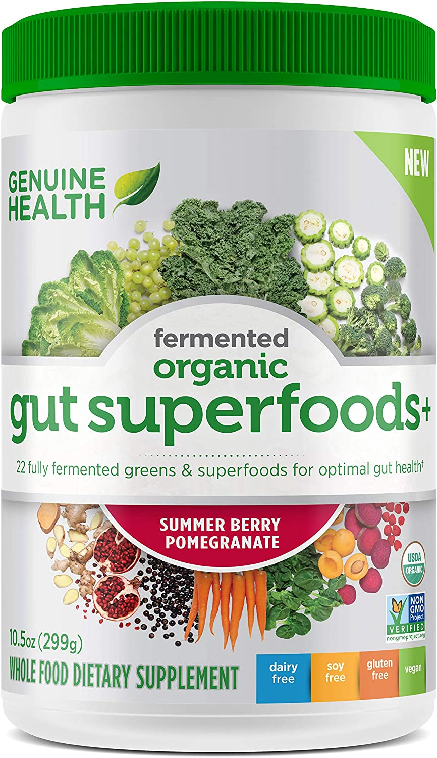 Genuine Health Fermented Organic Gut Superfoods+, Summer Berry Pomegranate, Vegan Superfoods Powder, 10.5oz Tub, 23 Servings