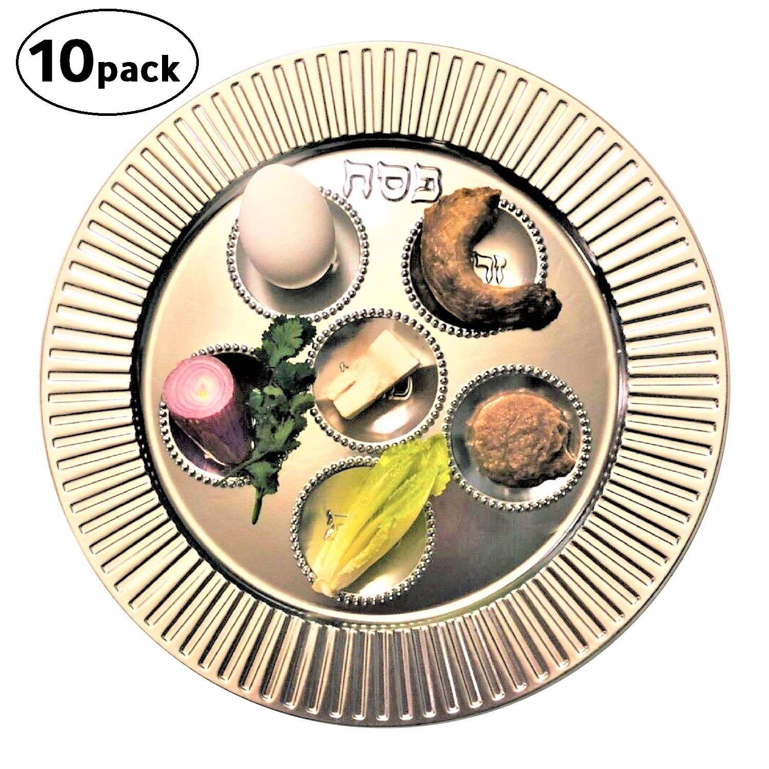 Passover Plastic Seder plate (10 pack) - 13'' Traditional Silver Disposable plates for Pesach Table.