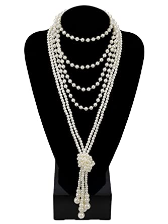 ArDeco Gatsby Long Knot Pearl Necklace 1920s Flapper Accessories 1920s Imitation Pearls Necklace 49 Mj7v8avRF