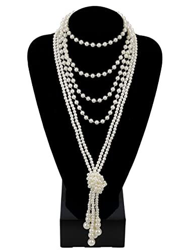 1920s Gatsby Jewelry- Flapper Earrings, Necklaces, Bracelets Zivyes Fashion Faux Pearls 1920s Pearls Necklace Gatsby Accessories Cluster 59 Long Necklace for Women $11.99 AT vintagedancer.com
