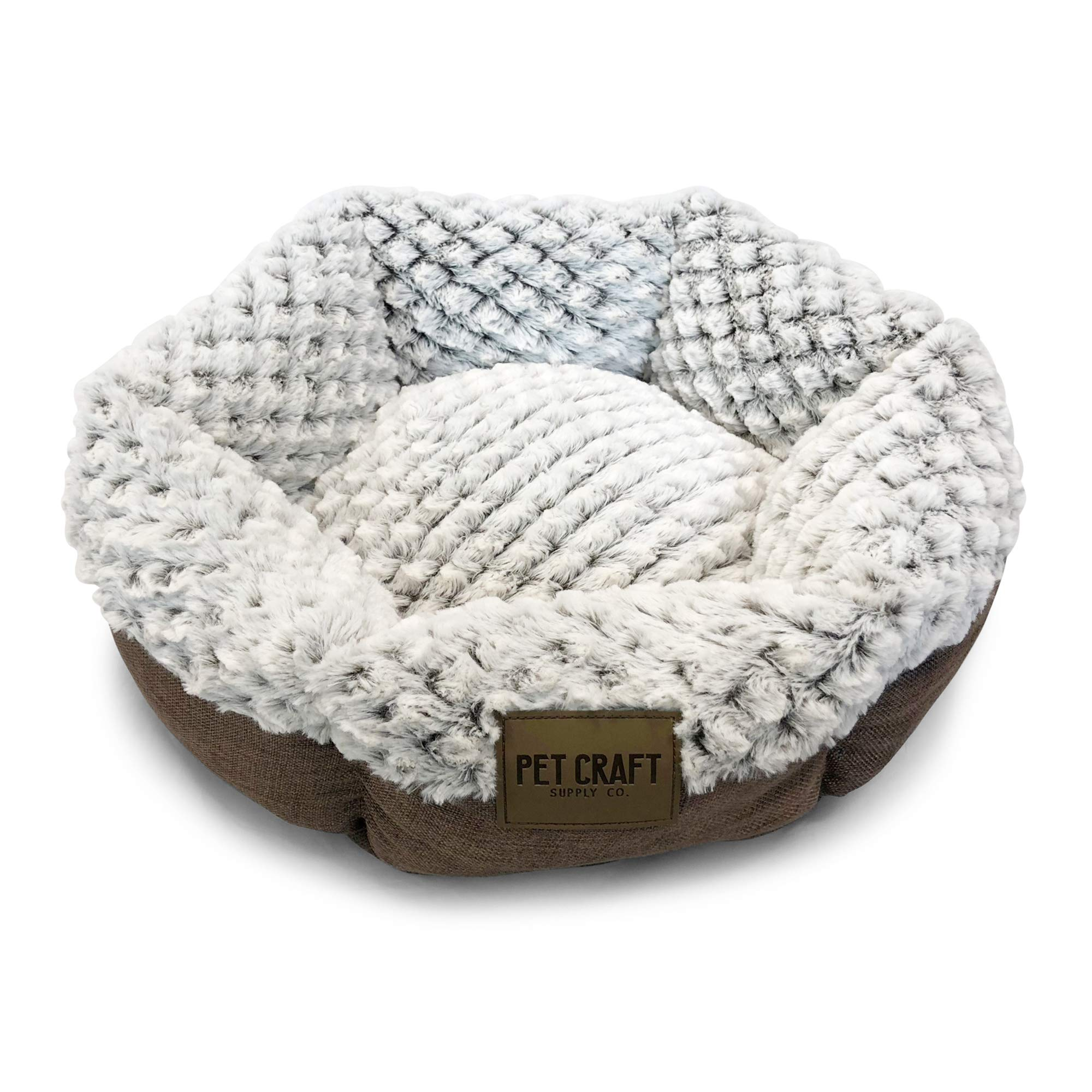 Pet Craft Supply Co. Round Machine Washable Memory Foam Comfortable Ultra Soft All Season Self Warming Cat & Dog Bed by Pet Craft Supply