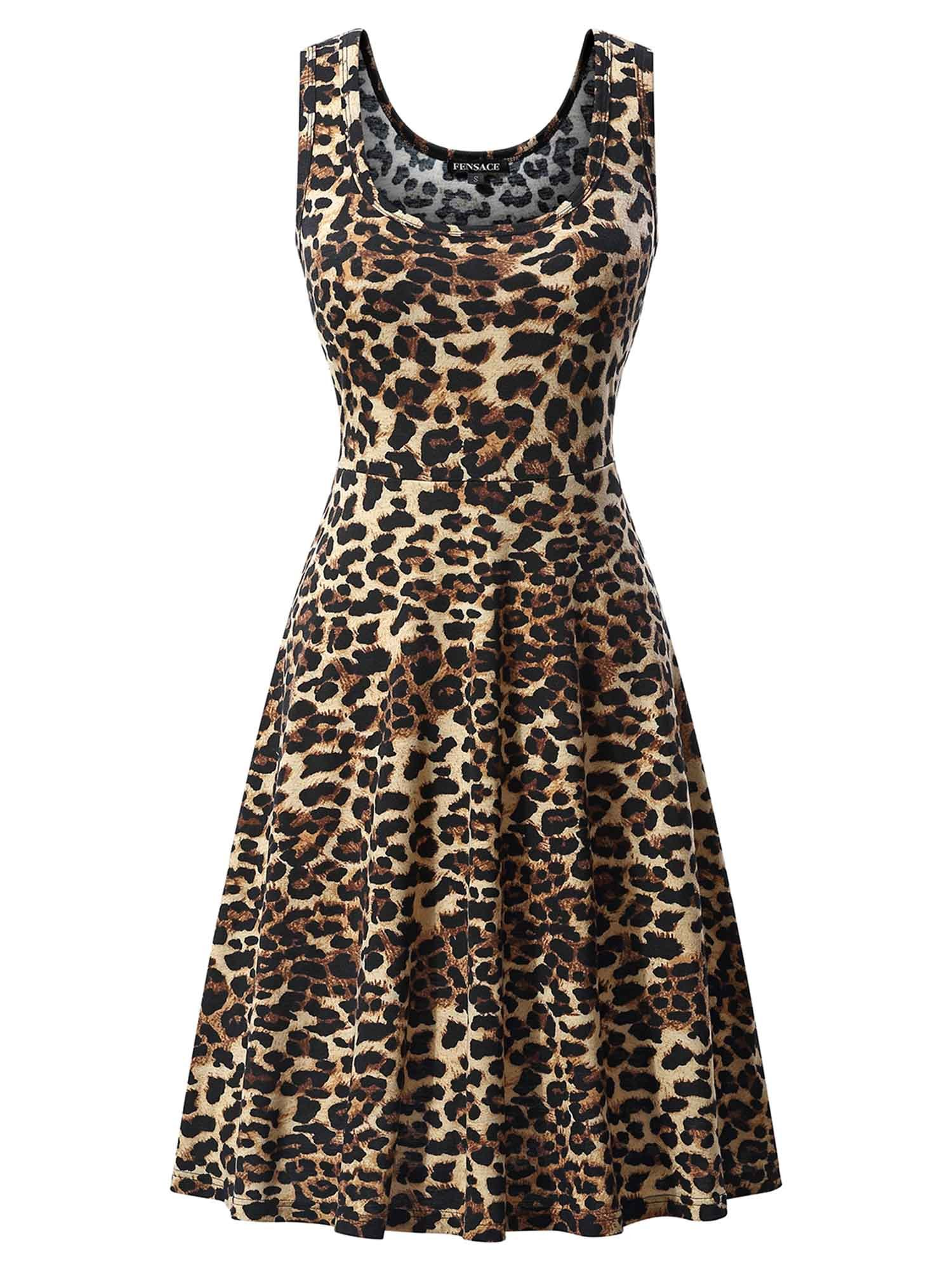 FENSACE Womens Sleeveless Floral Midi Tank Hawaiian Dress 1703012 Medium