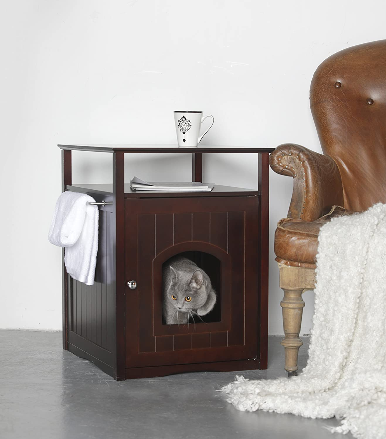 Trixie Pet Products Wooden Cat Home or Litter Box Concealer in Espresso Brown