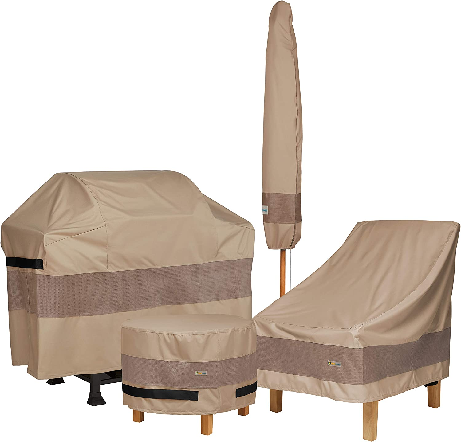 Duck Covers Elegant Water-Resistant 90 Inch Round Patio Table /& Chair Set Cover
