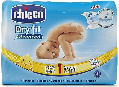 Chicco DryFit - Pack de 27 pañales ultra absorbentes para recién nacido, talla 1, 2-5 kg: Amazon.es: Salud y cuidado personal