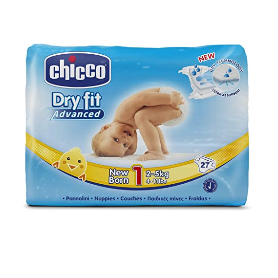 pack 10 pañales dry fit nb chicco talla 1 2-5 kg (270 PAÑALES)