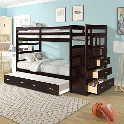 Merax Solid Wood Bunk Bed for Kids, Hardwood Twin Over Twin Bunk Bed with Trundle and Staircase, Natural Espresso Finish