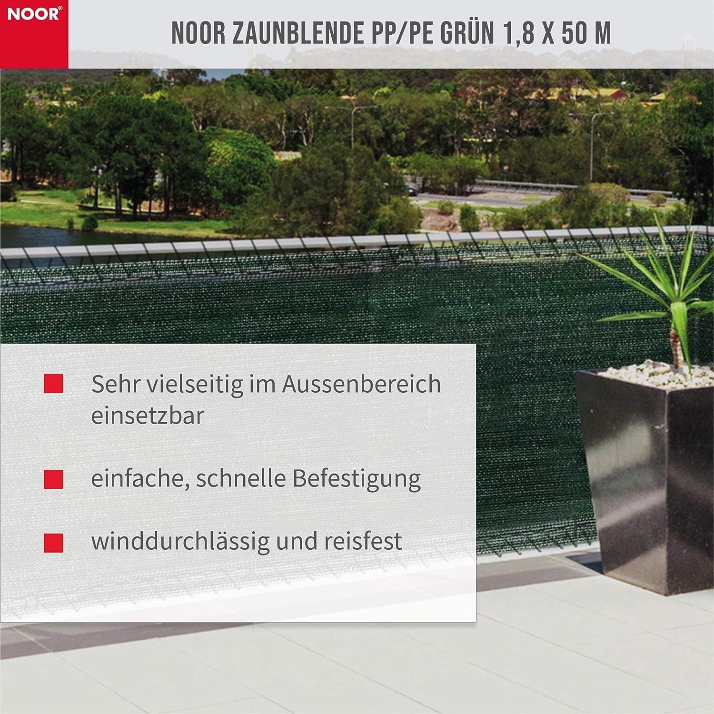 Gartenzaun-Blende winddurchl/ässig I Zaunblende vielfach anwendbar I Tennisblende Schattier-Netz I Gr/ün NOOR Zaunblende 1,0 x 5 m mit Befestigungs-Schnur I Zaunblende Sichtschutz