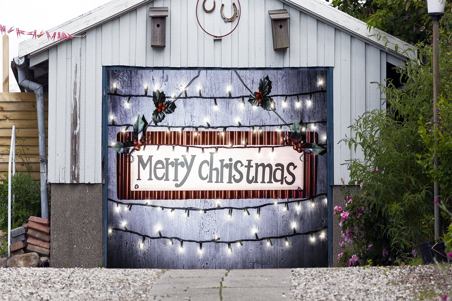Merry Christmas for SINGLE CAR GARAGE DOOR MURALS Covers Outdoor Decor Billboard Full Color 3D Effect Print Decorations of House Garage Holiday Banner Door Cover Size 83 x 96 inches DAV119 by WallTattooHome