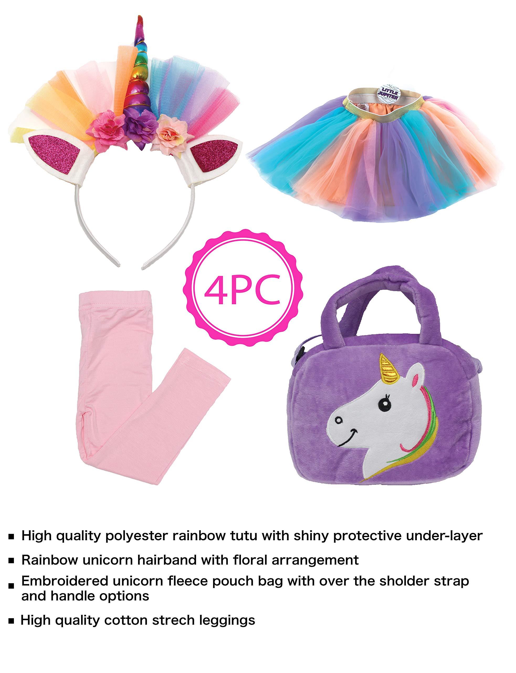 Little Jupiter Premium Girls Rainbow Unicorn Tutu Set 4PC Layered Dress for Age 2-8 Years Costume Unicorn Party 4