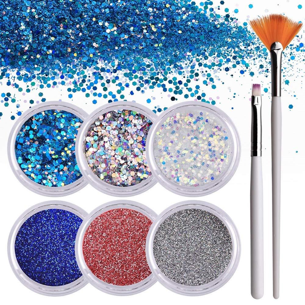 Makartt 6 Boxes Nails Glitter Powder Flakes, Fine Sequin Glitter Powder for Nails, Nail Art Glitter Kit with 1PCS Glitter Nail Flat Brush and 1PCS Fan Brush by Makartt