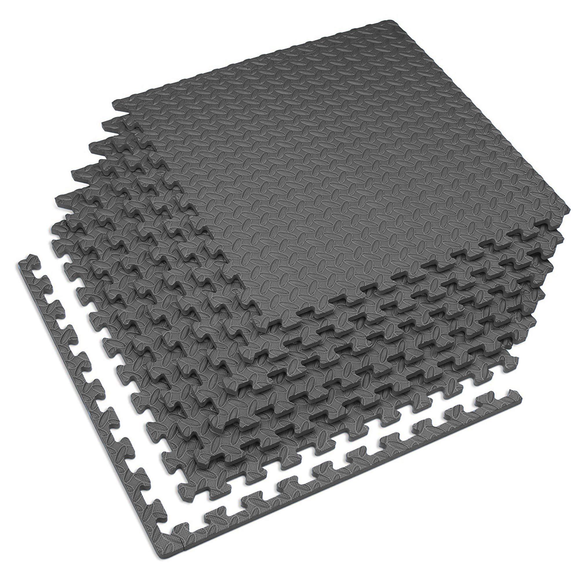 Velotas Charcoal Gray, 24 sq' (6 Tiles) Charcoal Gray 1/2'' Thick Interlocking Foam Fitness Mat