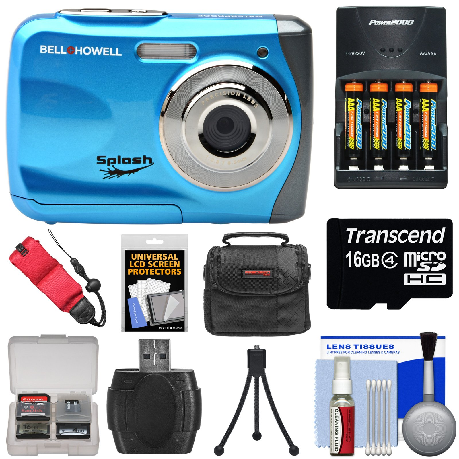 Bell & Howell Splash WP7 Waterproof Digital Camera (Blue) with Batteries & Charger + 16GB Card + Case + Kit