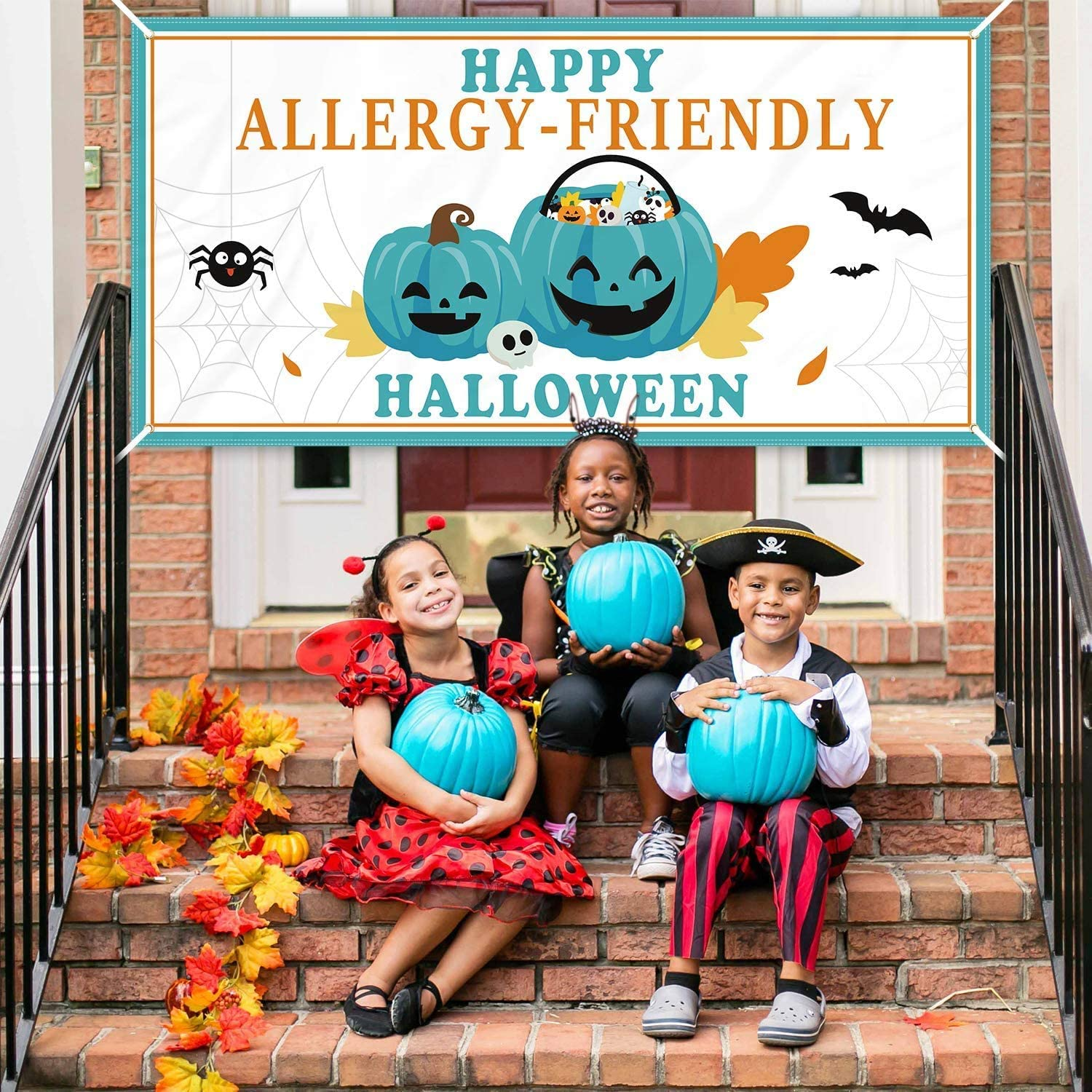 Teal Pumpkin Project Fabric Banner, Happy Allergy-Friendly Halloween Yard Signs Trinkets and Treats Food Allergy Awareness Garden Porch Decor