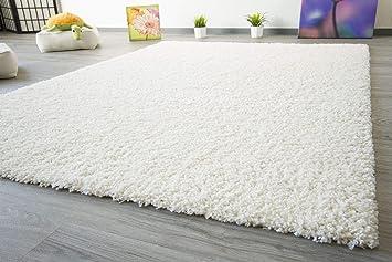 Shaggy Teppich Hochflor Einfarbig Micro-Polyester Soft Hochwertig Creme-Weiß