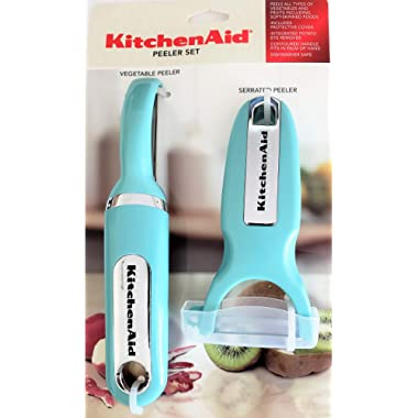 KitchenAid Classic 2-pc Handheld Peeler Set: Vegetable Peeler, Serrated Peeler, Aqua Sky