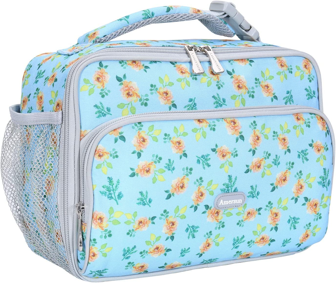 Amersun Kids Lunch Box,Durable Insulated School Lunch Bag with Padded Liner Keeps Food Hot Cold for Long Time,Small Thermal Travel Lunch Cooler for Girls Boys-2 Pockets, Blue floral