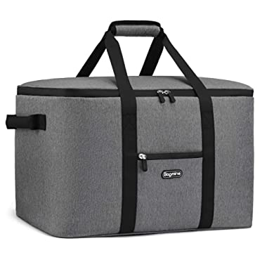 Bagmine 65 Cans Cooler Bag, Soft-Sided Collapsible Car Cooler Bag Leak-Proof Thermal Cooler Tote Bag with Side Handles, Perfect Groceries Bag, 45 Liter, 18.2  x 12.3  x 12.3  Gray