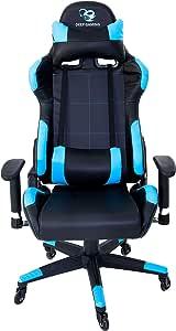 CoolBox DeepComand – Silla gaming ergonómica profesional para e-sports, tejido de polipiel PU, reclinable, tecnología Air Effect, ruedas Surface protect. Colores Azul y negro