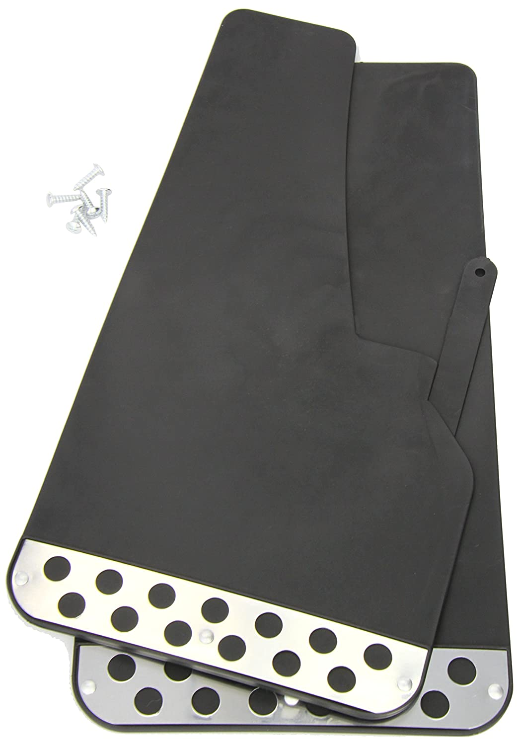 Streetwize UXRF3 Pair Black Rally Style Mud flaps With Chrome Plate