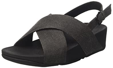 6e4b59d59 Fitflop Women s Lulu Cross Back-Strap Sandals Shimmer Open Toe (Black  Denim)