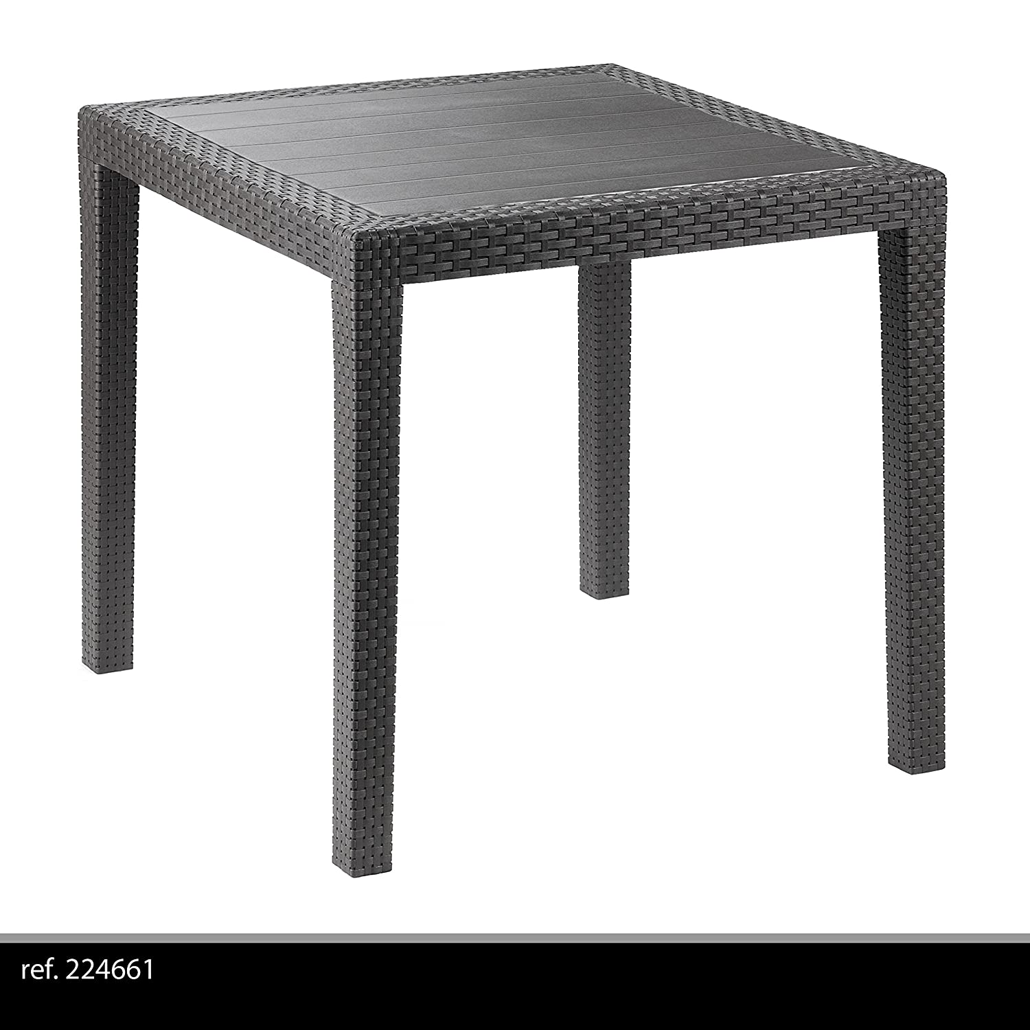Ipae-Progarden King Rattan Effect Square Table, Anthracite, Plastic, 79 x 79 x 72 cm 8009271052024