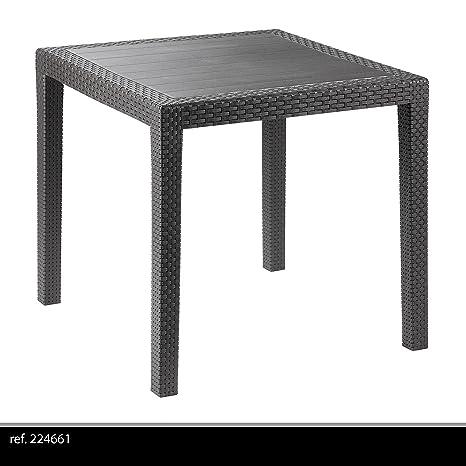 IPAE-PROGARDEN 8330121 - Mesa Resina Ratan Antracita King 80x80 cm
