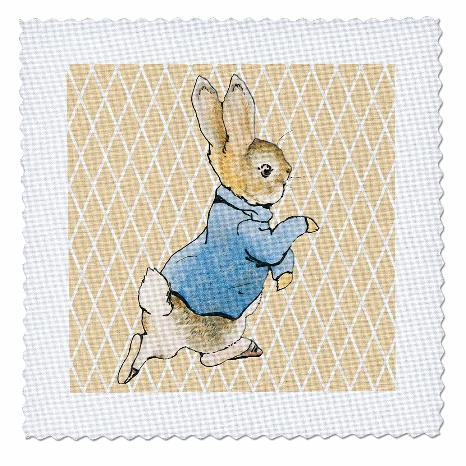 3dRose qs/_79399/_4 Peter Rabbit Vintage Art Animals-Quilt Square 12 by 12-Inch