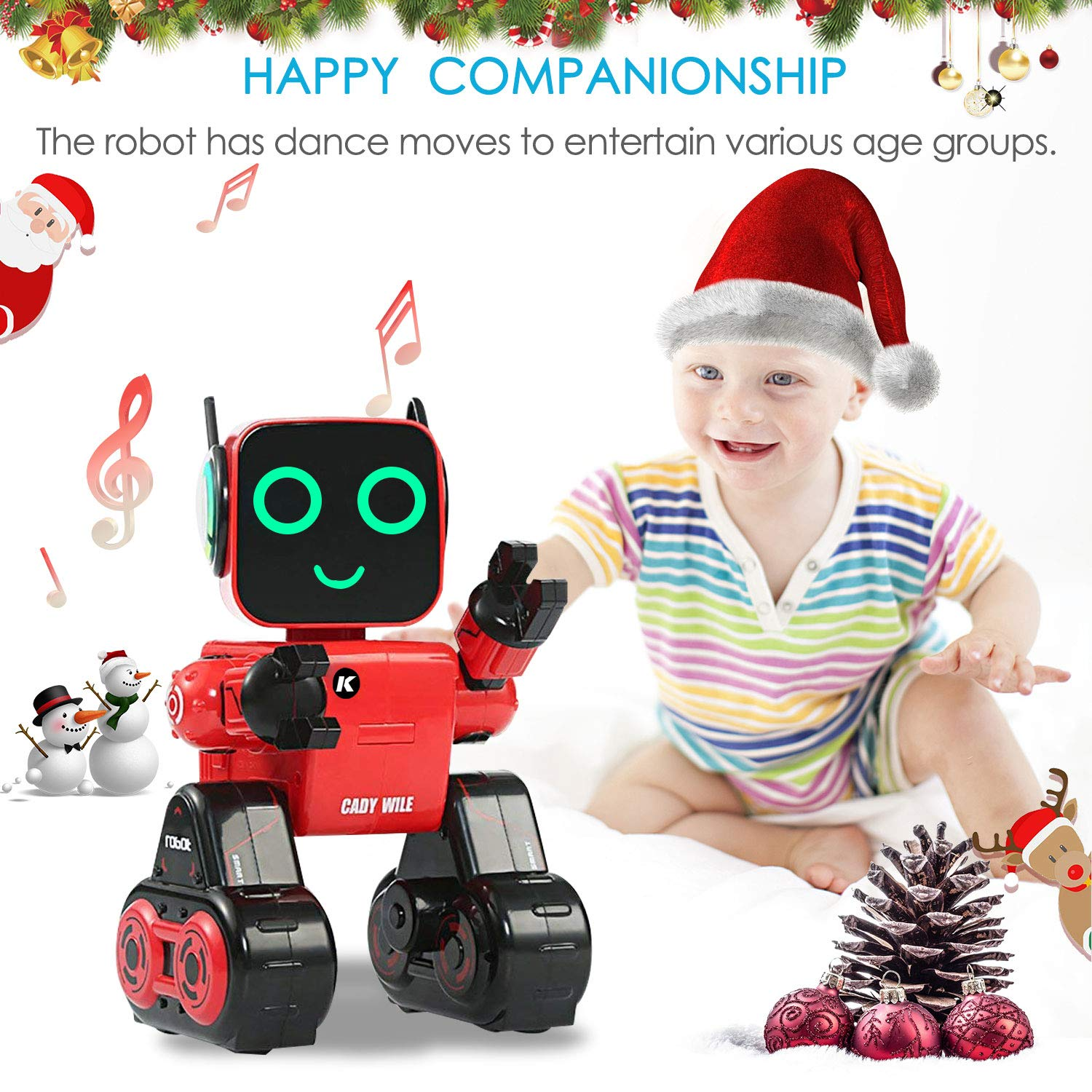 IHBUDS Programmable Remote Control Toy Robot for Kids,Touch & Sound Control, Speaks, Dance Moves, Plays Music. Built-in Coin Bank.Rechargeable RC Robot Kit for Boys, Girls All Ages-Red/Black by IHBUDS (Image #5)
