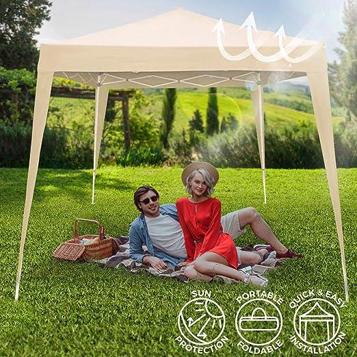 con Borsa da Trasporto Tenda Tetto 2.4 x 2.5 x 2.4 m Padiglione Tendone Feste Beige Esterno Gazebo da Giardino 3x3 m Pieghevole Ideale per Feste Matrimonio allAperto
