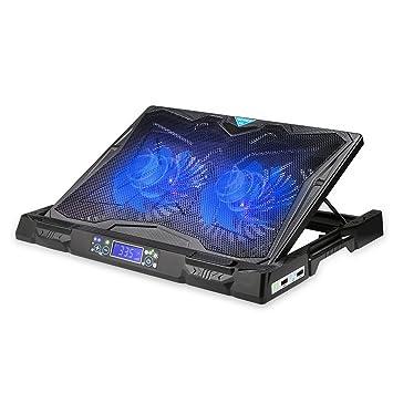 TeckNet Base de refrigeración para ordenador portátil de juego, con 2 ventilador silencioso, Temperatura