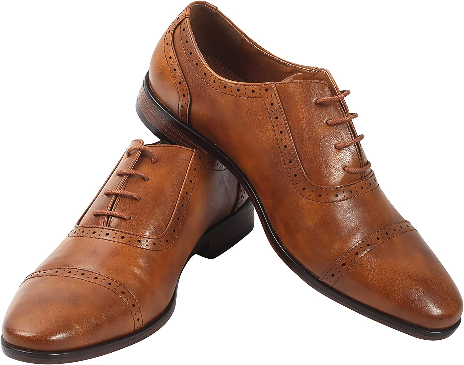Men's Oxford Wingtip Lace Dress Shoes | Leather Dress Shoes for Work | Oxford Brogue Formal Party Shoes | Wedding Shoes | Quality Craftsmanship | Everyday Comfort