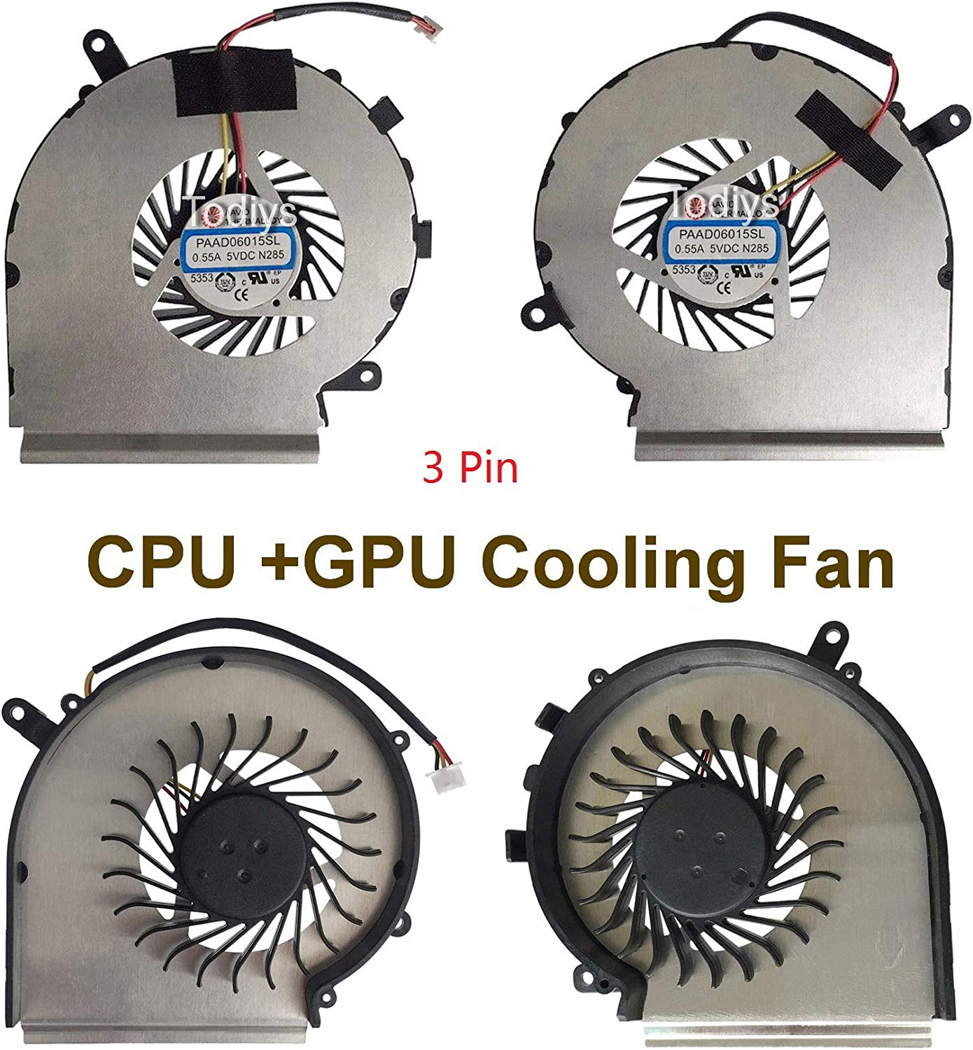 Todiys CPU + GPU Cooling Fan for MSI GE72 6QC 6QD 6QE 6QF 6QL 7RE 7RD Apache Pro Series GE72 6QC-011RU 6QC-047NE 6QD-008XFR 6QD-439FR 6QE-022NL 6QE-249AU GE72 6QF-029US 6QL-069UK 7RE-030US 7RD-052NE