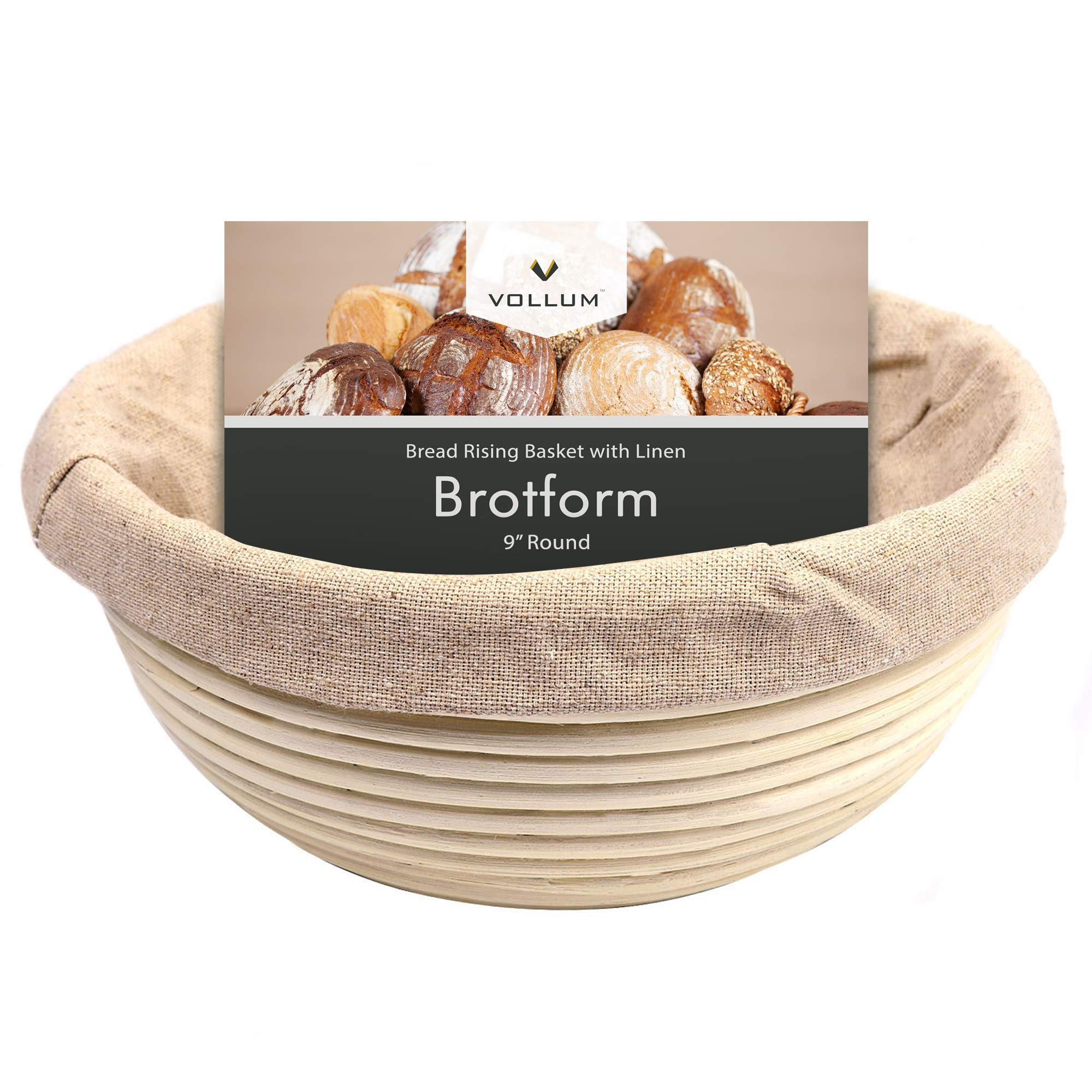 Vollum Bread Proofing Basket Banneton Baking Supplies for Beginners & Professional Bakers, Handwoven Rattan Cane Bread Maker with Linen for Artisan Breads, 9 x 4.25 Inch, 1-Pound Round Brotform