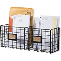 WALL35 Amalfi Wire Basket Desk Organizer, Wall Mount Rustic Decor for Home and Office Organization, Black Magazine…