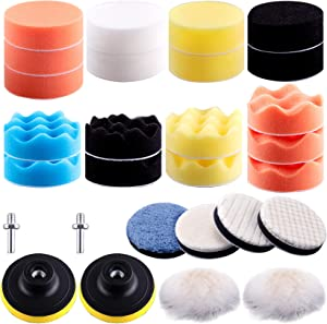 SIQUK 28 Pieces 3 Inch Buffing Pads Car Polishing Pad Kit Foam Polishing Pads Car Buffer Polisher Attachment for Drill
