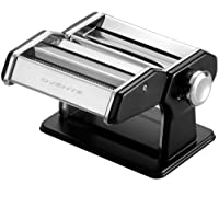 Ovente Stainless Steel Pasta Maker, Includes Hand Crank, Adjustable Countertop Clamp, and Double Pasta Cutter Attachment, 180mm, Vintage Style, 7-Position Dial, Matte Black (PA518B)