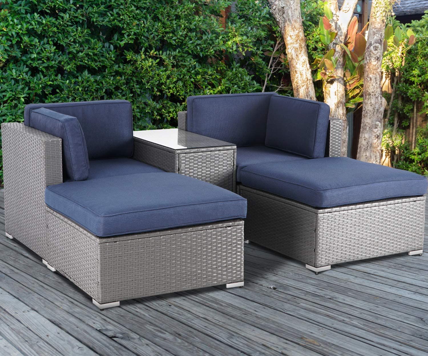 Brown Cushion All-Weather Grey Wicker Sectional Sofa with Glass Table SUNCROWN 5 Piece Patio Outdoor Furniture Sets