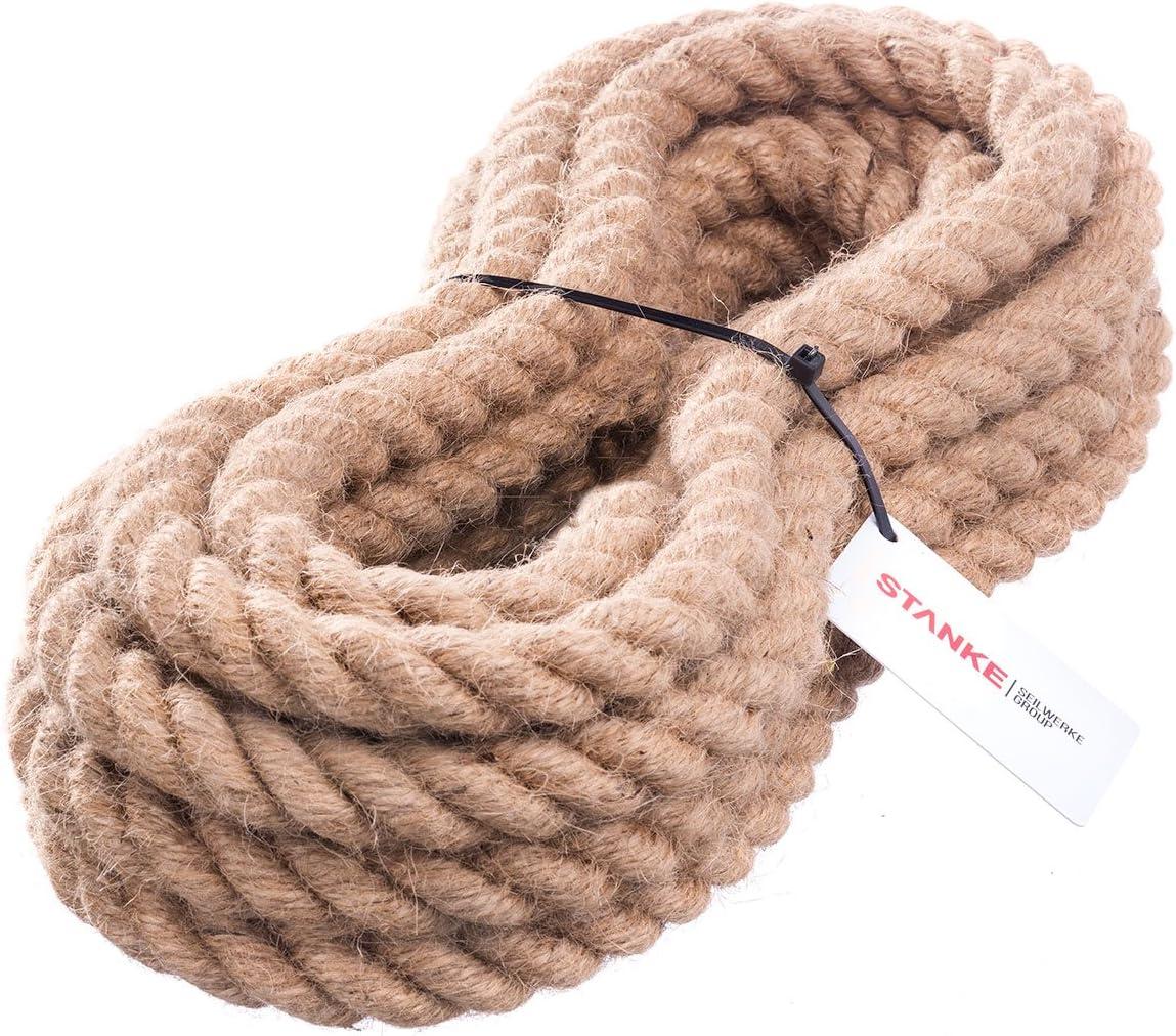 Seilwerk STANKE Cuerda de Yute 5 m de 30 mm Hilos Naturales Aparejo Cáñamo Jute Cuerda Tender la Cuerda Cuerda de Barandilla