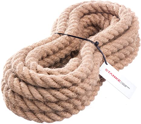 5m 20mm JUTESEIL Naturfasern gedreht Tauwerk Hanf Jute Tau Seil Tauziehen Absperrseil Handlauf