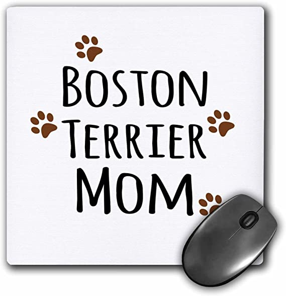 3dRose 8 x 8 x 0.25 Inches Mouse Pad Boston Terrier Dog Mom mp/_154081/_1