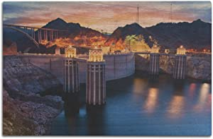 Lantern Press Boulder, Nevada - View of The Hoover Dam at Night with Lights On 9013182 (12x18 Wood Wall Sign, Wall Decor Ready to Hang)