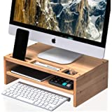 Well Weng Desk Monitor Riser Stand with Storage Organizer 2 Shelves for Computer, iMac, Printer, Laptop