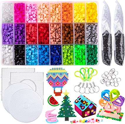 Fuse Beads,6800pcs Colorful Fuse Beads Kit 24 Colors 5MM for Kids,Including 2pcs Tweezers and Mini Iron Perler Beads Compatible Kit for Party Craft