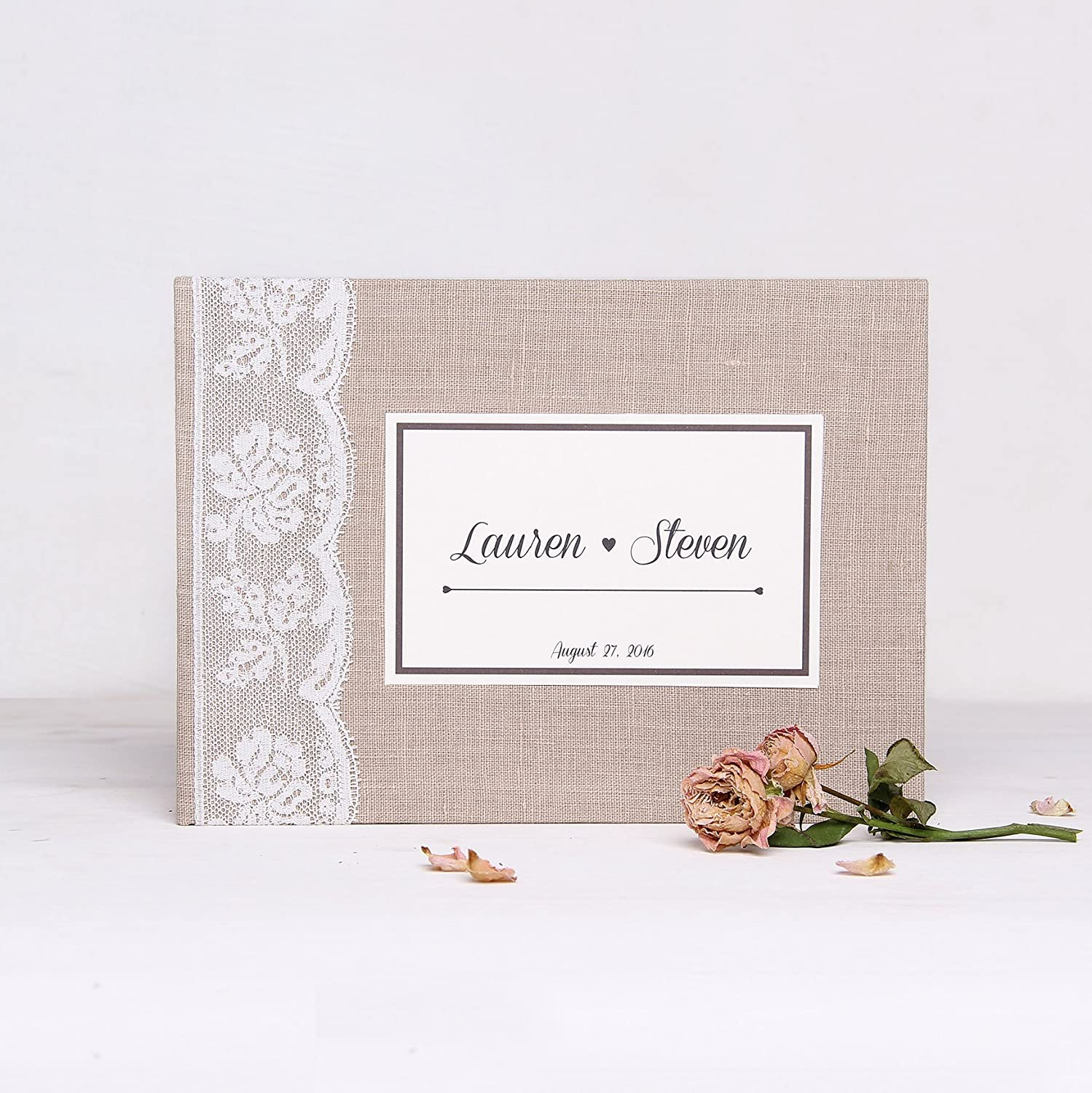 Wedding Album Rustic Light Lace Photo Guest book by Liumy