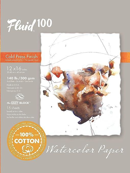 """Fluid Watercolor Paper Block Cold Press 9/"""" x 12/"""" 140 lb 15 Sheets"""