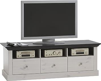 Steens TV Bank Monaco Landhaus, 3 Schubladen und 3 Fächer, 49 x 145 ...