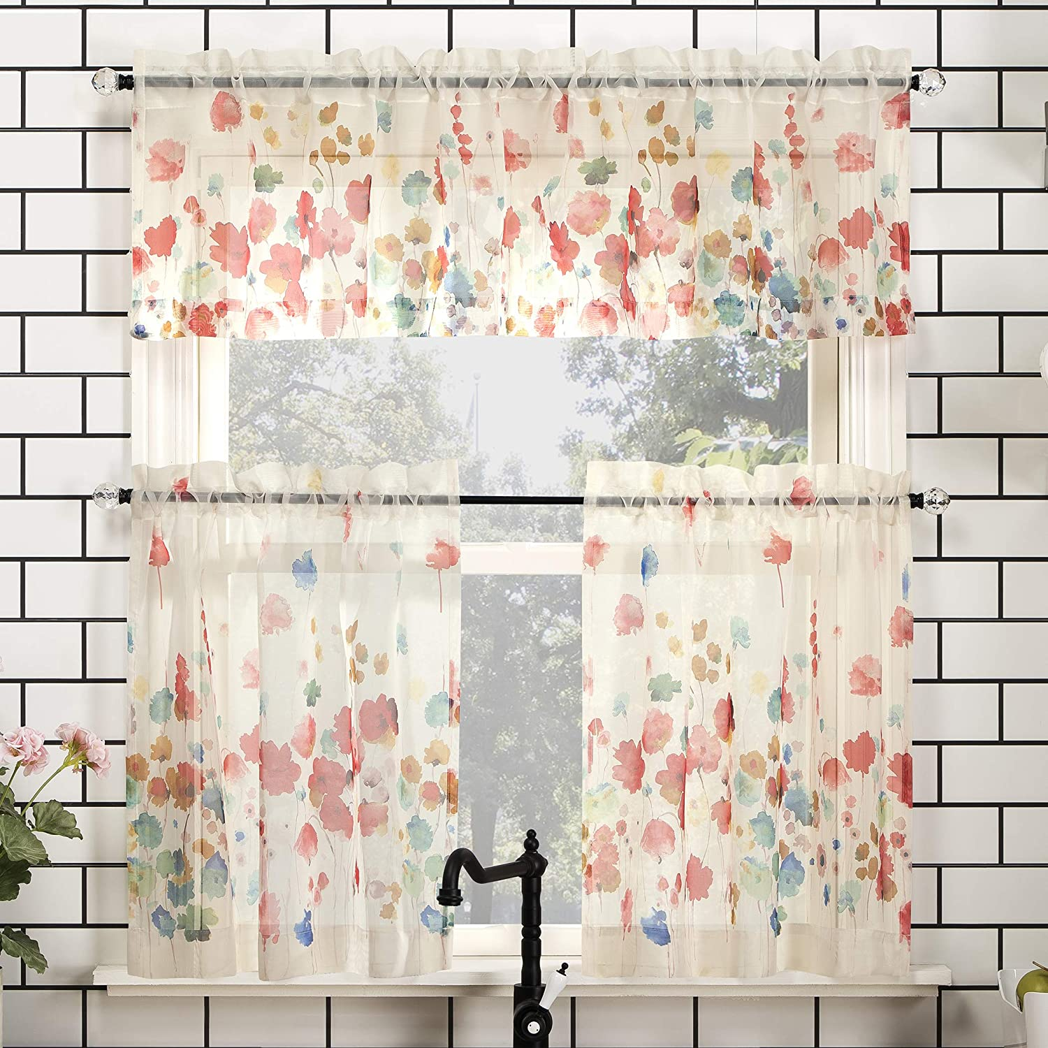 "No. 918 Rosalind Floral Watercolor Semi-Sheer Rod Pocket Kitchen Curtain Valance and Tiers Set, 54"" x 24"" 3-Piece, Poppy Red"